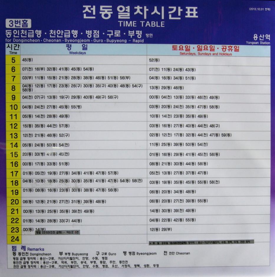 동인천 천안 급행열차 시간표